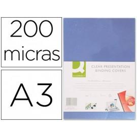 TAPA DE ENCUADERNACION Q-CONNECT PVC DIN A3 INCOLORA 200 MC CAJA DE 100 UNIDADES