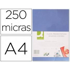 TAPA DE ENCUADERNACION Q-CONNECT PVC DIN A4 INCOLORA 250 MC CAJA DE 100 UNIDADES