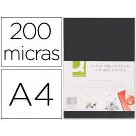 TAPA DE ENCUADERNACION Q-CONNECT PVC DIN A4 OPACA NEGRA 200 MICRAS CAJA DE 100 UNIDADES