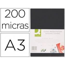 TAPA DE ENCUADERNACION Q-CONNECT PVC DIN A3 OPACA NEGRA 200 MC CAJA DE 100 UNIDADES